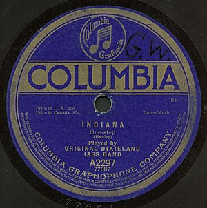 Back Home Again in Indiana - Columbia 78 by the Original Dixieland Jazz Band, 1917