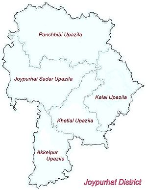 Joypurhat District - Map of Joypurhat District; Joypurhat Sadar Upazila, Panchbibi Upazila, Khetlal Upazila, Akkelpur Upazila, Kalai Upazila