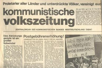 Communist League of West Germany - Front cover of the Kommunistische Volkszeitung, newspaper of the Communist League of West Germany from 1974