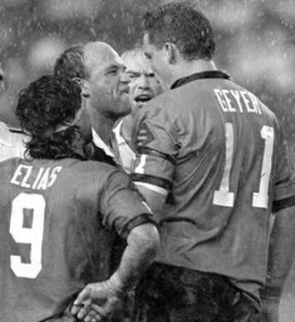 1991 State of Origin series - The iconic image of Wally Lewis confronting Mark Geyer with referee David Manson in the background and Ben Elias in the foreground.
