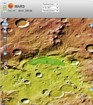 Ogygis Undae - USGS map showing the location of Ogygis Undae on Mars