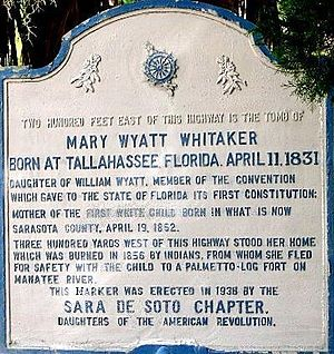 History of Sarasota, Florida - Historical marker dedicated to Mary Jane Wyatt Whitaker near her pioneer residence and tomb