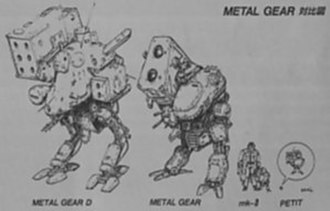 Metal Gear (mecha) - A comparison of Metal Gear designs from the early MSX2 games. From left to right: Metal Gear D (Metal Gear 2), Metal Gear (Metal Gear), Mk. II (Snatcher), and Petit (SD Snatcher).