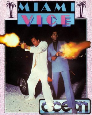 Miami Vice (video game) - Commodore 64 cover art