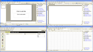 Microsoft Office XP applications (clockwise from top-right): Word, Excel, Outlook, and PowerPoint on Windows XP