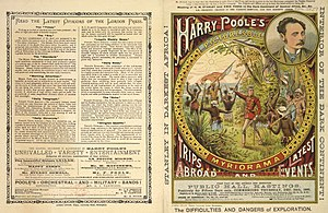 Moving panorama - 1891 poster for Poole's Myriorama featuring the meeting between Stanley and Emin Pasha