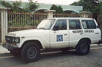 ONUCA and ONUSAL - UN ONUCA vehicle, Estelí, Nicaragua