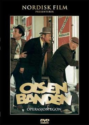 Olsen Gang - DVD Cover of the first Norwegian Olsenbanden: from left to right: Benny, Egon, Kjell.