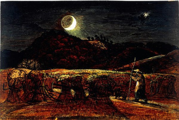 Palmer. A Cornfield by Moonlight with the Evening Star. Watercolour with bodycolour and pen and ink c.1830.