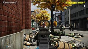 Payday 2 - A screenshot of a player engaging with enemies during an assault wave in a bank heist