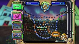 "Peggle - Screenshot of a typical Peggle level in the Xbox Live Arcade's ""Peg Party"" mode."