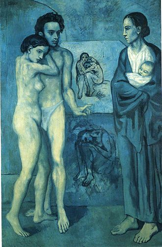 "Style (visual arts) - La Vie by Pablo Picasso, 1903; falling under the ""style label"" of Picasso's Blue Period"