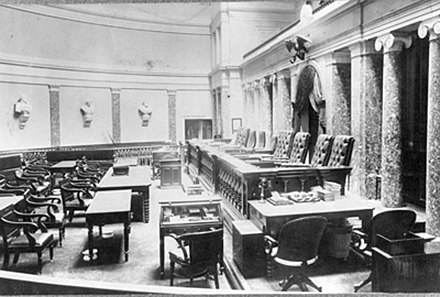 From the 1860s until the 1930s, the court sat in the Old Senate Chamber of the U.S. Capitol. SCOTUS-oldsenate.jpg