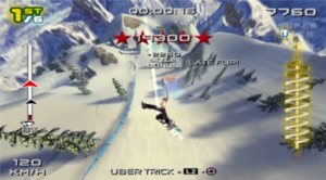 SSX 3 - A screenshot from a  race event in SSX 3 showing the HUD, including the adrenaline meter on the right.