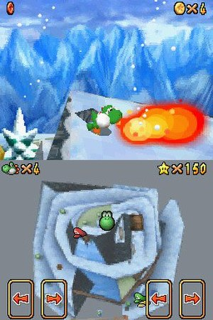 "Super Mario 64 DS - Top: Yoshi after using the power flower item to breathe fire. Bottom: Overhead map of the ""Cool, Cool Mountain"" level displaying the location of the character and special hats."