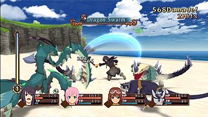 """Tales of Vesperia - Tales of Vesperia uses the """"Evolved Flex-Range Linear Motion Battle System"""": the characters' status is displayed along the bottom of the screen. Featured in the display are the Over Limit gauge, an Arte title, and damage chain display."""