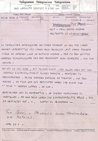Mathias Wieman - Condolence Telegram from German President Gustav Heinemann on death of Mathias in 1969