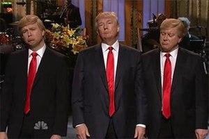 Saturday Night Live parodies of Donald Trump - Taran Killam (left) and Darrell Hammond (right), respectively, portray Donald Trump while the real Donald Trump (middle) hosted Saturday Night Live on November 7, 2015