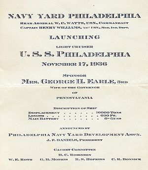 USS Philadelphia (CL-41) - Launching announcement