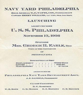 USS Philadelphia (CL-41) - Launching announcement