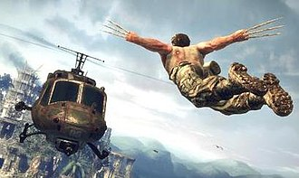 X-Men Origins: Wolverine (video game) - Wolverine lunges toward an enemy helicopter.