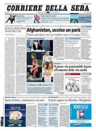 Corriere della Sera - Image: 20090715 corsera frontpage