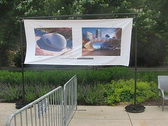Burnham Pavilions - Hadid's pavilion was depicted by a banner during the opening weekend