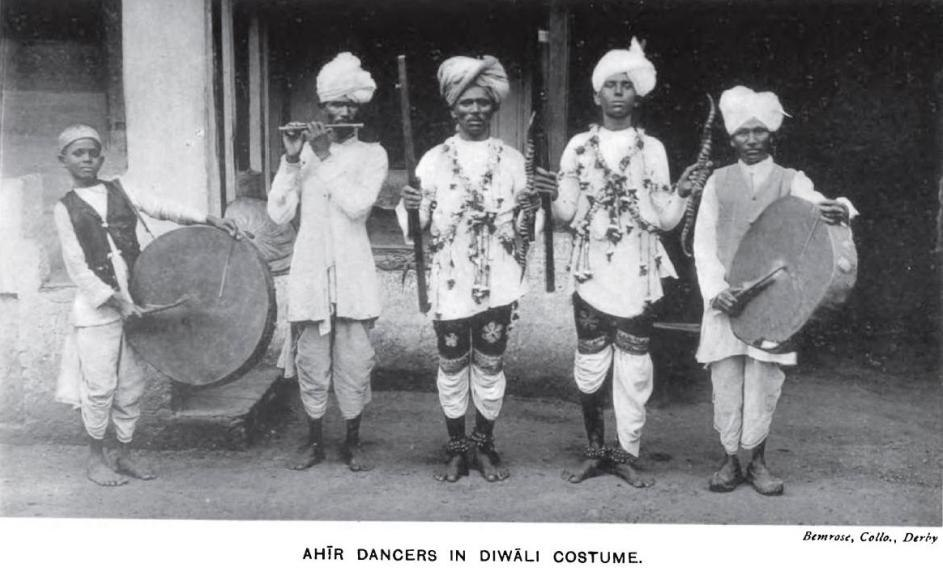 Dancers from the Ahir caste, a major segment of the Yadav group, in Diwali costume, circa 1916