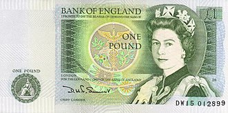 Bank of England £1 note - Image: Bank of England £1 obverse