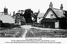 North view of Bentworth village green in 1905, with thatched cottages in the foreground