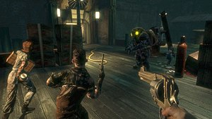 BioShock - A Big Daddy defends a Little Sister (both on right) from two Splicers, while the player watches.