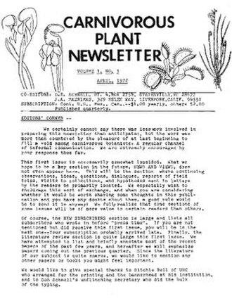 Carnivorous Plant Newsletter - Image: Carnivorous Plant Newsletter first issue
