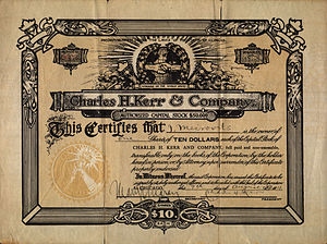 Ralph Chaplin - Charles H. Kerr 1911 series stock certificate illustrated by Chaplin