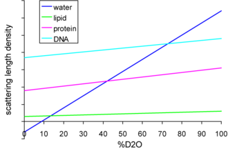 Small-angle neutron scattering - Figure 1: The relationship between the scatter of various biological macromolecules as a function of D2O concentration.