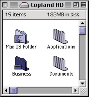 Scrollbar - Non-proportional scrollbars in Mac OS from 1996, before the scrollbar length became proportional to the amount of content present.