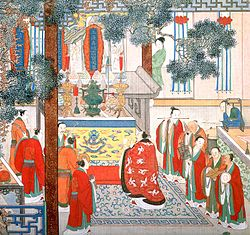 Detail of circa 1700 painting of a Taoist ritual for the dead, illustrating a scene from The Plum in the Golden Vase. Note the plaques at the back of the altar of the Three Purities, and the various ritual implements including incense burner and ritual sword on the right. (According to the novel the sword is engraved with the seven stars of the big dipper.) Bowls hold food offerings for the deceased woman, Li Ping'er.