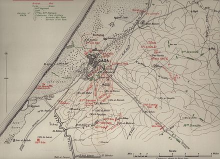 Positions at 18:30 on 26 March 1917 FallsMap12FirstGaza.jpeg