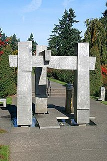 <i>Frank E. Beach Memorial Fountain</i> 1975 stainless steel fountain and sculpture in Portland, Oregon
