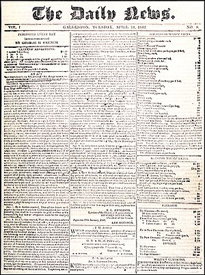 Southern Newspapers - The April 19, 1842 front page of The Daily News, forerunner to the Galveston County Daily News.