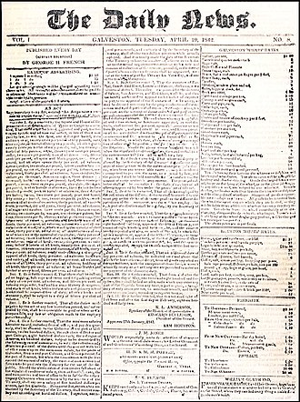 The Daily News (Texas) - April 19, 1842 front page of The Daily News