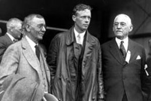 Lamartine Griffin Hardman - Gov. Hardman (right) poses with Charles Lindbergh (center) and Atlanta mayor Isaac Newton Ragsdale (left) at Candler Field on October 11, 1927