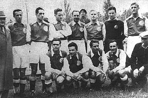 HŠK Građanski Zagreb - Građanski squad which won the 1939–40 Yugoslav Football Championship; Standing (L to R): Jazbinšek, Cimermančić, Đanić, Belošević, Lešnik, Urch, Brozović; Crouching: Antolković, Matekalo, Žalant, Kokotović and coach Bukovi
