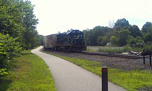 Orange Heritage Trailway - Norfolk Southern freight train with parallel Orange Heritage Trailway.
