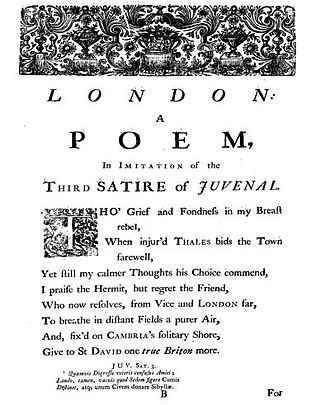 London (Samuel Johnson poem) - First page of London (1738)