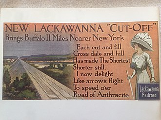 Lackawanna Cut-Off - Phoebe Snow poster showing the Pequest Fill on the new New Jersey Cut-Off, 11 miles (17.7 km) shorter than the old route.