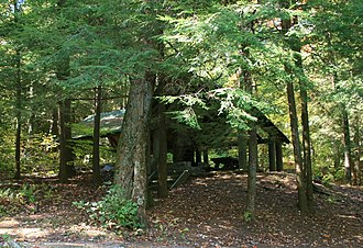 Lake Conasauga - One of the two group shelters that include a firepit, picnic tables, and grill