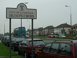 Hunt's Cross - Image: Liverpool Hunts Cross Districtsign