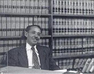 Loren Miller (judge) - In his law office 1943