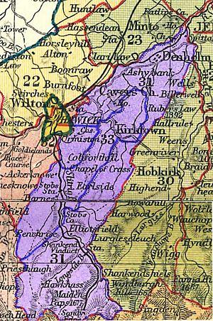Cavers, Scottish Borders - Parishes of Cavers and Kirkton, 1895 (parish boundary shown in blue)