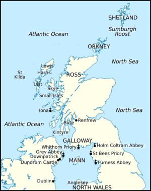 Haraldr Guðrøðarson - Image: Map png crovan dynasty isles